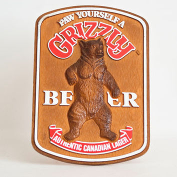 Vintage Grizzly Beer Sign, Bear Bar Sign Canadian Lager Beer Ad, Retro Advertisement Stand Up Display
