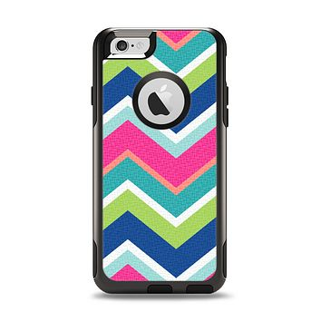 The Vibrant Teal & Colored Layered Chevron V3 Apple iPhone 6 Otterbox Commuter Case Skin Set