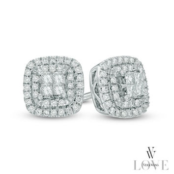 Vera Wang LOVE Collection 1/3 CT. T.W. Princess-Cut Quad Diamond Double Frame Earrings in 14K White Gold