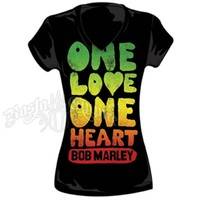 Bob Marley One Love One Heart Black T-Shirt - Women's @ RastaEmpire.com