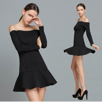Black Off Shoulder Long Sleeve Drop Waist Dress