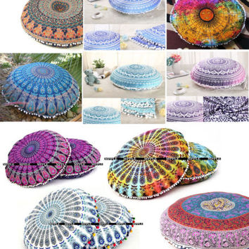 "32"" Inches Pouf Cushion Cover Indian Floor Pillows Cover With Pom Pom Tassel"