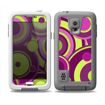 The Purple and Green Layered Vector Circles Skin Samsung Galaxy S5 frē LifeProof Case