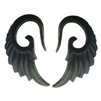 Pair of Angel Wings Organic Black Acrylic Ear Spiral Plug (12G 2MM)