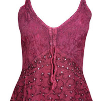 Pink Sequin Embroidered Spaghetti Top Tie Back Rayon Boho Hippie Style Tank Top