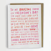 Valentine For My Amazing Single Friend / Friend Valentine Card, Funny Friend Valentine