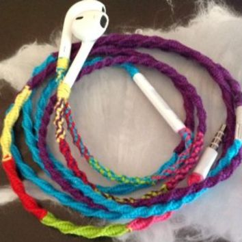 Handmade Wrapped Tangle-Free Earbuds | 80s Retro Remix Deux| Genuine iPhone EarPods