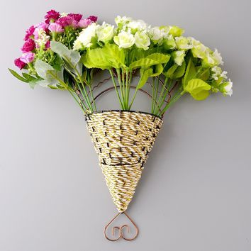 Lovely Sector Wall Hanging Craft Fake Flower Vase Basket Office Home Decor