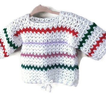 Vintage Baby Sweater, Handmade Vintage Knitted Baby Knit Sweater Infant 6m 12m Baby Unisex Vintage Knit Open Weave Striped Sweater Tying Hem