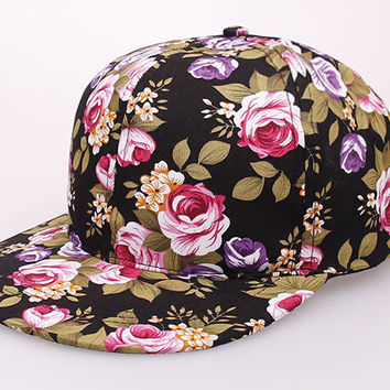 Retro flowers hip hop hat