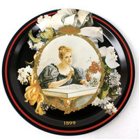 Vintage Coca Cola Tray 1899 Hilda Reproduction Round Black Tin