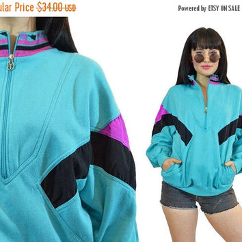 20% OFF vtg 80s pastel grunge pullover sweatshirt neon blue pink tribal asouthwestern print slouchy sweatshirt colorblock half zip up retro