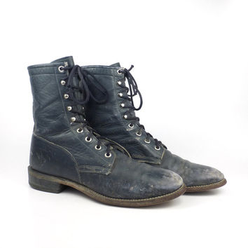 Blue Roper Boots Vintage 1980s Wrangler Distressed Leather Granny Lace up Packer Women's size 7