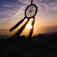 Small Dream Catcher - Car Rear View Mirror - Black and Brown