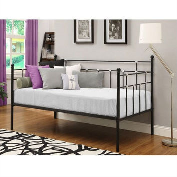 Twin Size Black Metal Daybed with Chrome Detailing