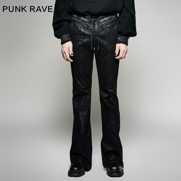 Punk Rave Black Men's Gothic Punk Rock Pants Gothic Man Bell-Bottoms trousers K268