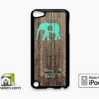 Mint Chevron Elephant On Dark Wood Background iPod Touch 5th Case Cover by Avallen