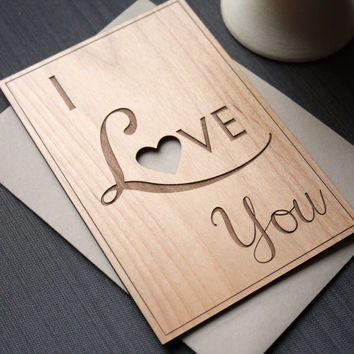 Real Wood Card for Wedding Anniversary - I Love You Wood Greeting Card