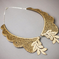 Iris Collar- Laser Cut Wood with Sterling Silver Chain