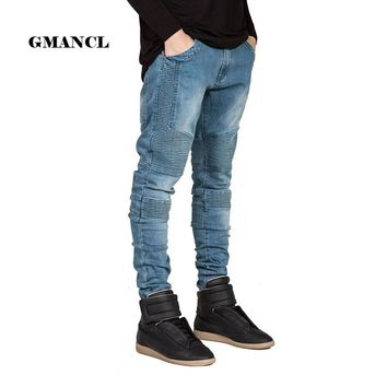 Streetwear Men Skinny Biker Jeans homme Men's fashion Motorcycle Moto Hip hop Denim Pants Joggers Runway Slim Elastic JEANS
