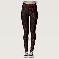 Red Flowing Lines Ornamental Abstraction Leggings