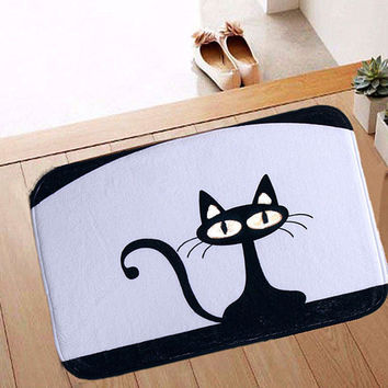40x60cm Coral Fleece Black Cat Pattern Non-slip Floor Mat Bathroom Kitchen Bedroom Door Carpet