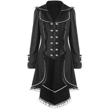 ZAFUL 2XL Women Double Breasted Lace Hem Tail Coat Turn Down Collar Long Sleeves Black Long Trench Coats Gothic Vintage Trench