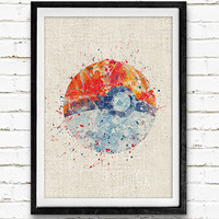 Pokemon Ball Watercolor Poster, Kids Watercolor Art Print, Boy's Room Wall Art, Kids Decor, Not Framed, Buy 2 Get 1 Free!