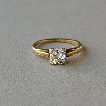 Antique .60ct Old Mine Early European Cut Diamond Solitaire Engagement Wedding Ring 14K Yellow Gold Platinum Setting