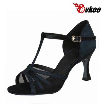 Evkoodance Satin With Transparent Mesh Woman 7cm Heel Height Latin Dance Shoes High Quality Low Cost Soft Shoes Evkoo-015