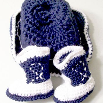 Western Hat and Boots -Baby Cowboy Gift Set--Baby Shower Gift  -navy and white-PLEASE STATE SIZE
