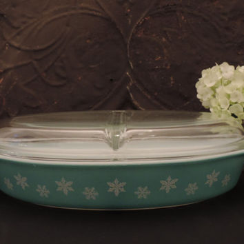 Pyrex Turquoise Snowflake Divided Dish 1956 Cinderella Casserole Serving Dish
