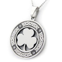 Irish Clover Pendant Necklace With Cubic Zirconium Celtic Jewelry - St Patricks Day Gifts