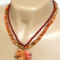 Copper Leaf Pendant Necklace Handcrafted Multi Strand Carnelian Gemstone
