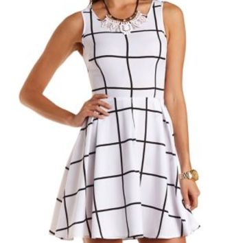 White Combo Windowpane Checked Skater Dress by Charlotte Russe