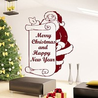 Wall Decals Merry Christmas and Happy New Year Santa Claus Decal Vinyl Sticker Home Art Bedroom Home Decor Living Room Art Murals MS739