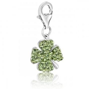 Sterling Silver Four Leaf Clover Green Tone Crystal Accented Charm