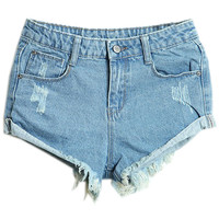 ROMWE | Rolled-up Distressed Light Blue Shorts, The Latest Street Fashion