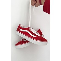 Vans Trending Women Men Fashion Casual Running Sports Canvas Skate Shoes Red G