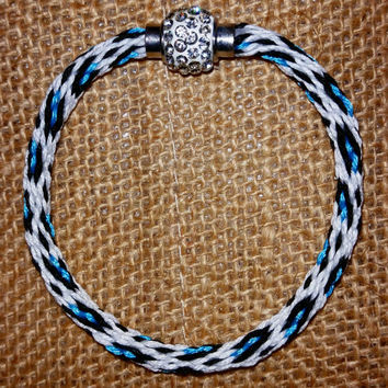 Neon Leopard Print Kumihimo Friendship Bracelet with Pave Magnetic Clasp - Blue