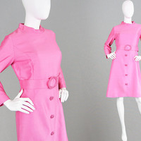 Vintage 60s Cocktail Dress 60s Mod Dress Bright Pink 1960s Shift Dress Embellished Dress Long Sleeve Party Dress Jackie O Kennedy Faux Silk