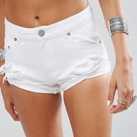 ASOS Denim Shredded Hotpant in Optic White