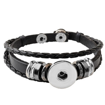 P00650 -8 Hot Snap Button Bracelet&Bangles Charm Leather Bracelets For Woman FIt Ginger Snap Button For Gift Rivca Jewelry