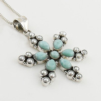 Larimar & Pearl Sterling Silver Snow Flake Pendant