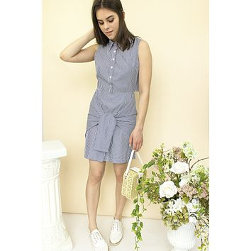 Bianca Poplin Dress - blue