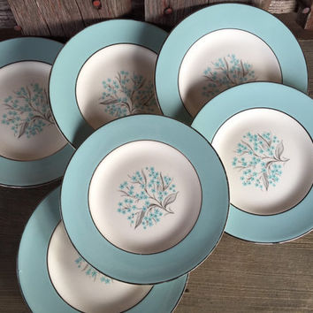 Midcentury china 1950's china, Sevron Blue Lace bread and butter plates, Vintage dinnerware, Homer Laughlin Blue Lace dinnerware, Spring