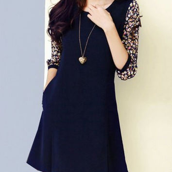 Dark Blue Floral Print Half Sleeve Mini Dress