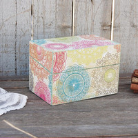 Recipe Box, Shabby Chic, Sage Green, Blue, Green, Wood, Upcycled, Decoupage, 3x5, Hand Painted, Rustic