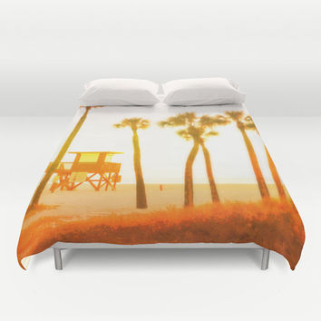 Mango Sunset - Duvet Cover, Endless Summer Style Bedding Accent, White Yellow Orange Beach Surf Palm Trees Decor. In Twin Full Queen King