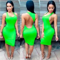 Backless Candy Color Bodycon Short Bandage Tank Dress